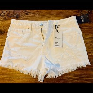 Distressed High Wasted White Jean Shorts